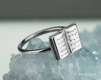 Sterling Silver Book Ring Solid .925 Reader Writer Rings Custom Sizes
