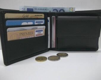 card holder, wallet, leather billfolds flexible black color