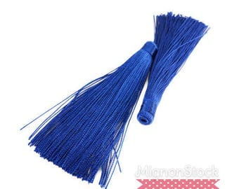 Large tassel fringe - synthetic, blue-12 cm