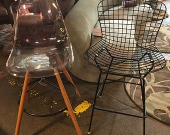 Pair of Mid-Century Bertoia and Eames Styled Bar Stools
