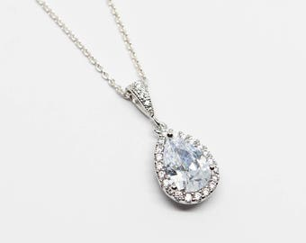 Necklace 925 silver drop crystal wedding cubic zirconia Bridal Bridal Jewelry