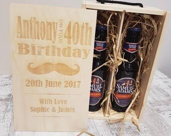 Personalised bottle beer box, birthday, Christmas, anniversary, gift for him.