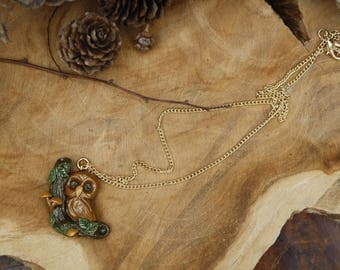 Owl necklace with a branch on the side, polymer clay jewelry