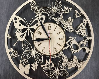 Butterfly decor Butterfly wall clock gift personalized wooden rustic wall Decor original wooden decorative wooden gift