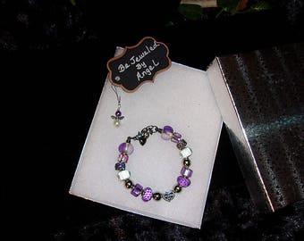 European Style Charm Bracelet #53, Women's Charm Bracelet, Girl's Charm Bracelet, Celebrate Life, Lavender, Handmade
