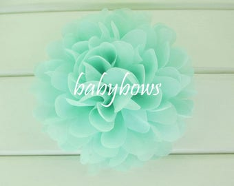 5x Mint Big Flower Baby Girl Hair Clips 1 Pair