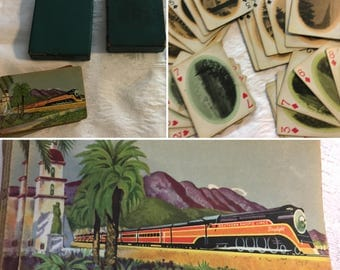 Vintage Collectible Southern Pacific Railroad Train Boxed Playing Deck Cards California Scenic Photos Scenes SKU 041-09