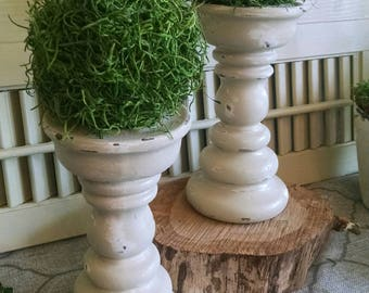 Chunky Vintage candleholders with moss topiaries~mantle decor pillars~pedestal candleholders