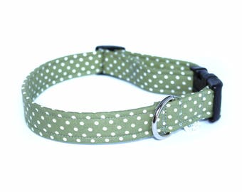 Sage Green Polkadots Dog Collar