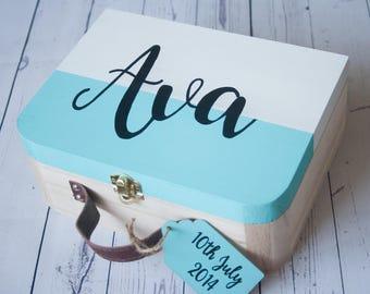 Baby memory box, personalised box, wooden keepsake box, children's memory box, new baby gift, christening gift, birthday gift, handpainted