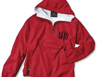 Red Monogrammed Rain Jacket Personalized Half Zip Rain Jacket by Charles River