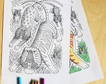 Mammal 2, cats, colouring sheet, download, colouring page, animals,