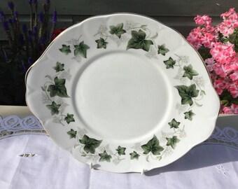 Duchess vintage fine bone china cake plate in 'Ivy' design made C. 1980s