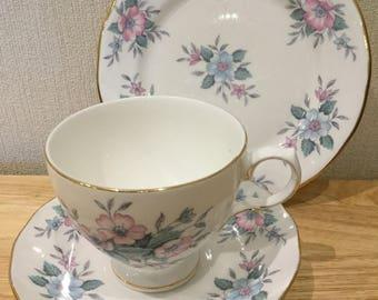 Trio ~ Colclough, vintage fine bone English china cup, saucer and plate, trio - 'Copellia'
