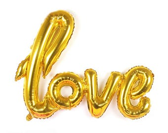 Gold Love Balloon - 50th Wedding Anniversary Decorations - Handwritten / Script - Love Banner Sign - Engagement Party - Free Shipping