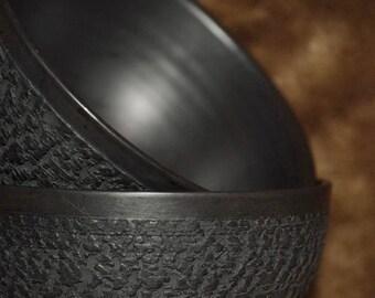 Ceramic bowl | Textured bowl | Stoneware | Ceramic kitchenware | Eco product | Pottery bowl | Handmade bowl | Glossed bowl | Black bowl