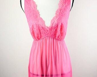 Vintage Vanity Fair Long Lace Lingerie Nightgown