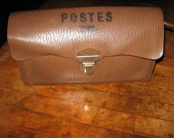 Vintage French Leather Post Office Mail Bag ~ Ancienne Sacoche  En Cuir La Poste ~ 1950's