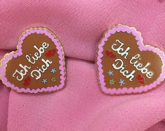 German Gingerbread Oktoberfest Christmas Lebkuchen Cookie Hard Enamel Pin Badge
