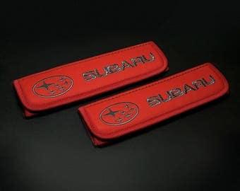 Subaru - 2 pcs. Car Seat Belt Shoulder. Car Seat Strap Covers, Padded Strap Covers, Reversible Strap Covers.