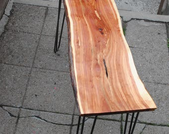 Live Edge Cedar Table with Metal Hairpin Legs
