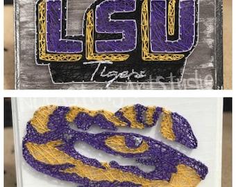 LSU Tigers Football Nail String Art Wall Decor Plaque Sign Louisiana State  University Tigeru0027s Den Man