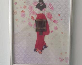 origami paper doll picture with frame, Geisya