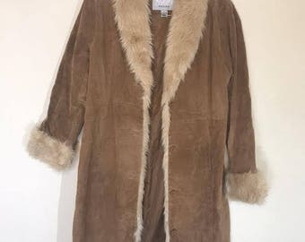 Vintage Boho Leather Suede Trench Petti Coat with Faux Fur Trimming