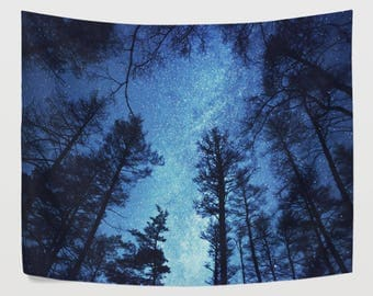 Blue Night Sky Tree Tapestry Wall Hanging Forest Milky Way Wall Decor  Art
