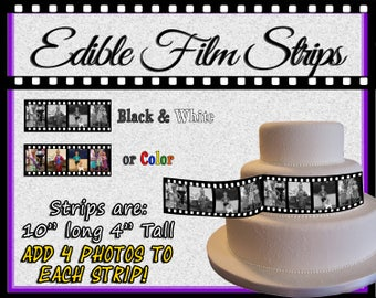 Edible film reel strips for cakes. Pictures photos on sugar wafer frosting paper decals  images black and white color wraps around easy idea
