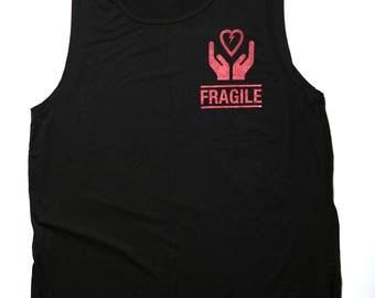 Fragile Heart - cool black sleeveless shirt