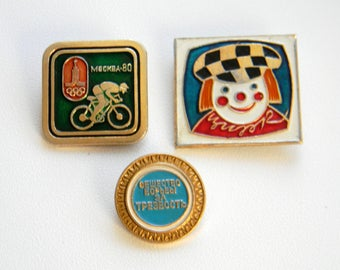 Set of 3 Vintage Soviet Pins..Clown, Cyclist (Olympiad 80), Society for Struggle for Sobriety ..Made in USSR