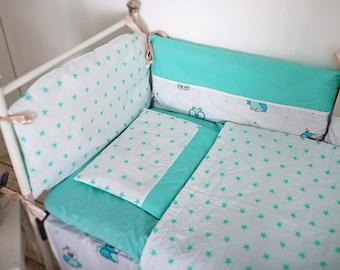 Mint with Owls Bedding. Baby Bedding. Crib Sheet. Crib Skirt. Minky Blanket