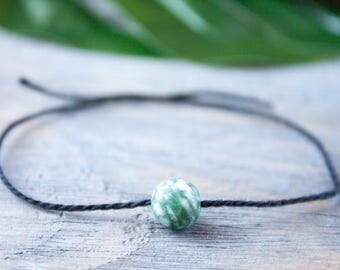 Black String Khaki Bracelet Wish Bracelet Black Cord Friendship Talisman Kabbalah Bracelet Protection Amulet Green Matte Beads Cord Bracelet