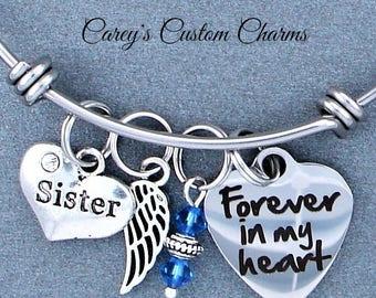 Sister Memorial Keepsake Charm Bracelet, Swarovski Birthstone, Sympathy Gift, Forever In My Heart, Angel Wing, Stainless Steel, Loss Sibling