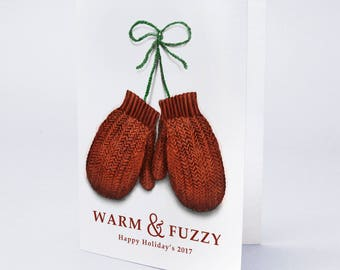 Custom Message, Hand-illustrated WARM and FUZZY Holiday Mittens Holiday Cards by Truly Yours Greetings *free shipping – Always.