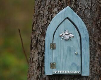 Opening Fairy garden door with housefly ornament, gray blue wooden door, wood openable fairy elf door, mini door for tree, crystal fly decor