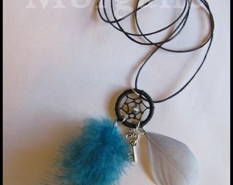 Necklace dream catcher feathers turquoise and gray