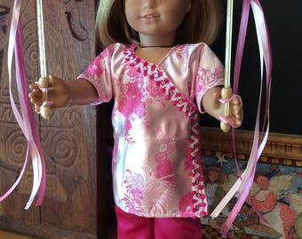 A Chinese New Year celebration outfit made for an 18 inch doll such as American girl and the like size