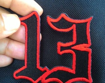 unlucky Number 13 embroidered iron on patch.