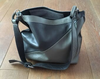 Handmade in England Leather Two Tone Hobo Bag