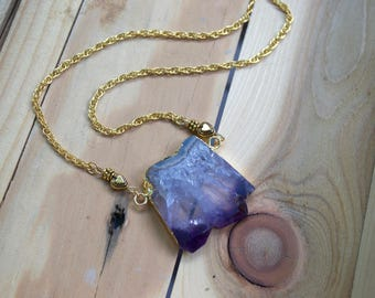 Amethyst Slice Pendant Necklace.