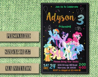 Little Pony Invitation,My Little Pony Invitation,Little Pony Party,Little Pony Invite,Little Pony Birthday,Pony Invitation,Pony Birthday FF