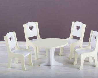 High Quality Doll Chair Doll Table Set Dollhouse Doll Dollhouse Kitchen Barbie Furniture  12 Inch Furniture Wooden Toy