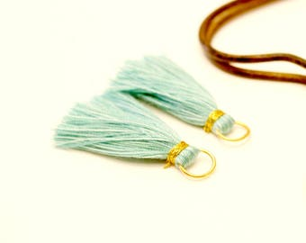 2 tassels, Turquoise, seafoam, mint, gold metal ring