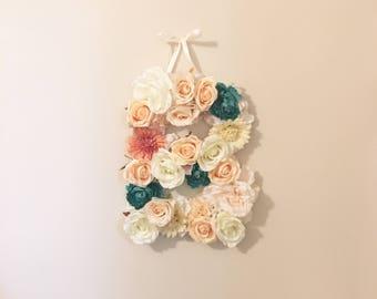 Initial Flower Monogram, flower letter, personalized decor, personalized art, flower monogram, initial monogram, wedding letter