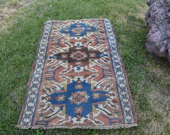Rare Vegetable Dyed Turkey Rug 3.3 x 5.4 feet Free Shipping Vintage Rug Bohemian Floor Rug Aztec Rug Area Rug Code220