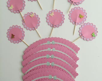Pink Flower Cupcake Toppers and Sleeves
