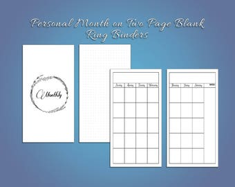 Personal Blank Month on Two Pages for Ring Planners
