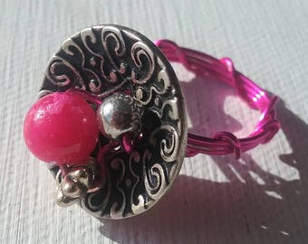 Pink Silver Button Ring